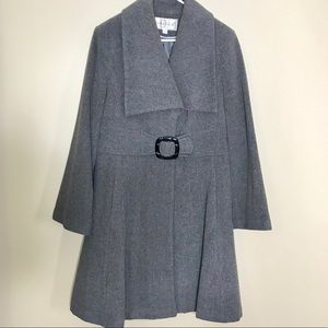 Linea Donatella Gray Wool Winter Trenchcoat Sz XL